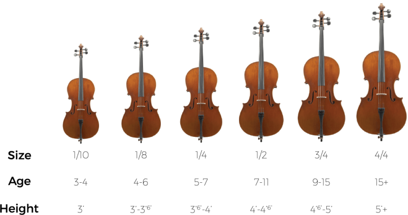 student Cello size chart