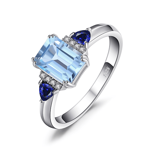 Blute topaz sapphire sterling silver ring