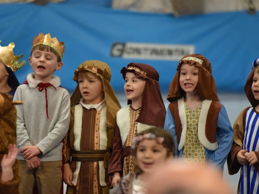 Kids dressed up in Christmas Nativity Play costumes.