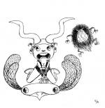 <h5>Flying Horns & the Flat Bird</h5><p>Inktober 2014 - Dessin à l'encre</p>