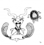 <h5>Flying Horns & the Flat Bird</h5><p>Inktober 2014 - Dessin à l'encre</p>
