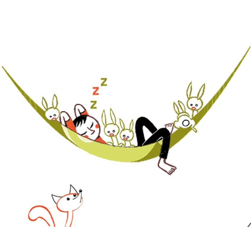 La sieste avec des lapins