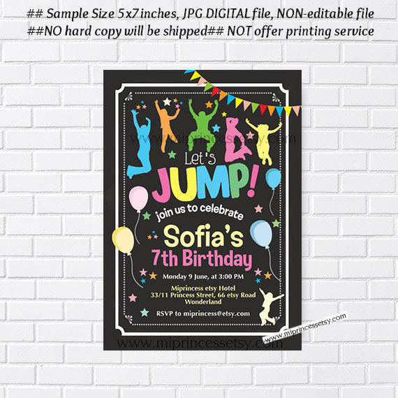 jump tumble birthday invitation bounce house birthday invitation for little boys little girl jump party 3rd 4th 5th 6th 7th 8th card 951 princessmi illustration and graphic design