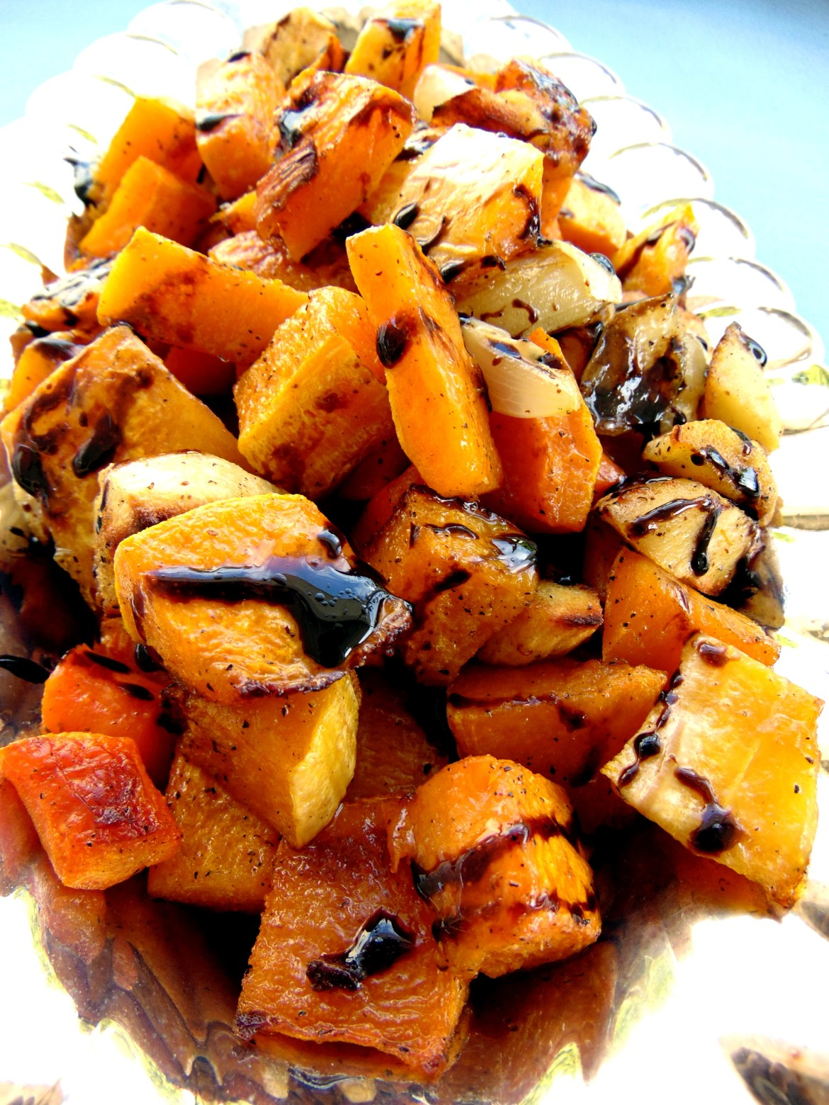 Roasted vegetables and balsamic dressing