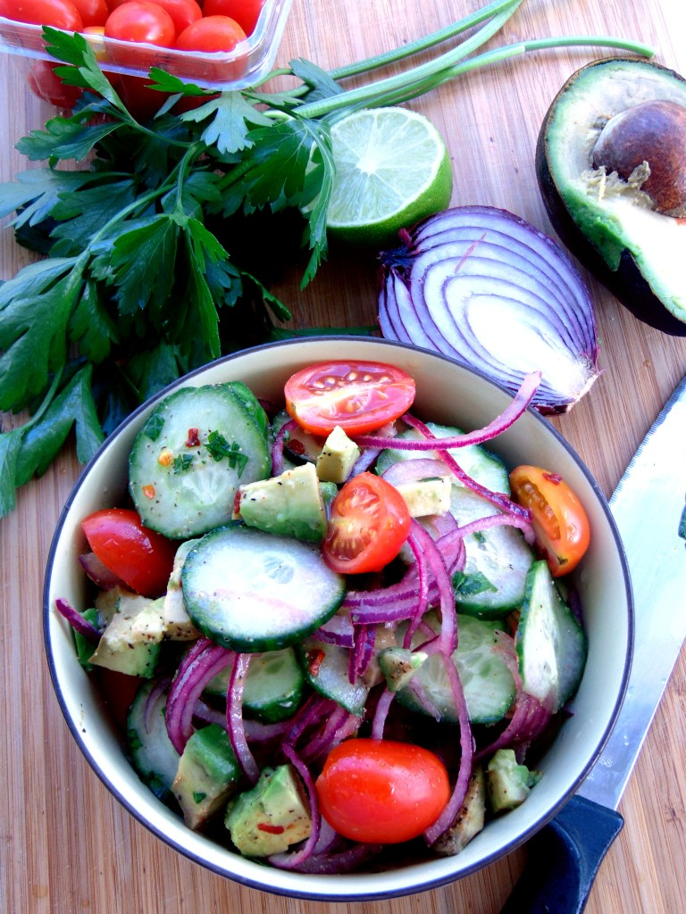 Avocado, cucumber and onion salad