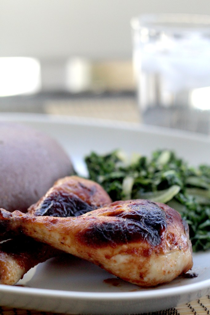 Baked chicken legs and Sadza rezviyo with sauteed kale