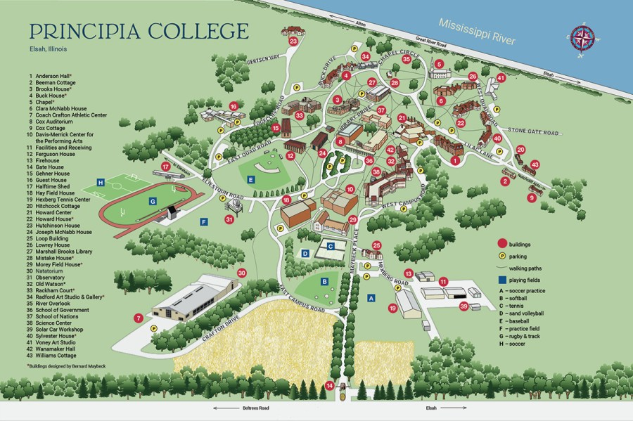Map and Directions   Principia College     Large Campus Map Image