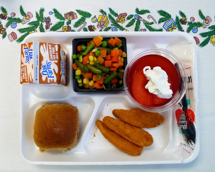 A photo of a school lunch.