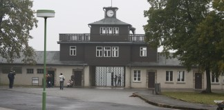 A photo of the Buchenwald concentration camp today.