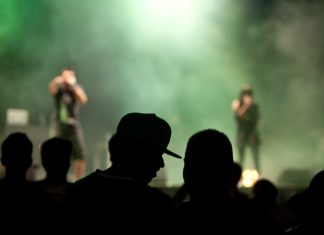 A silhouetted crowd at a late-night concert.
