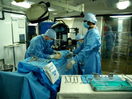 A photo of an operating room during surgery