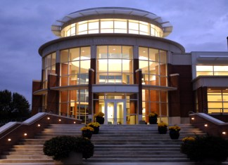 A photo of DePauw's music school.