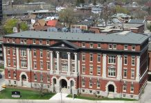 A photo of an academic building at Wilfrid Laurier University
