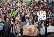 An image of a DACA protest in Columbus Circle
