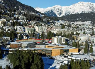 An image of Davos, Switzerland in the winter.
