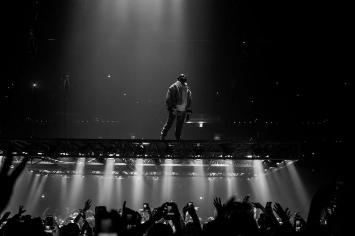 A photo from a Kanye West concert.