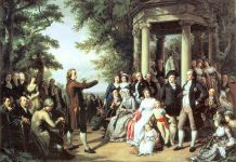A painting of Enlightenment scholars talking in a park.