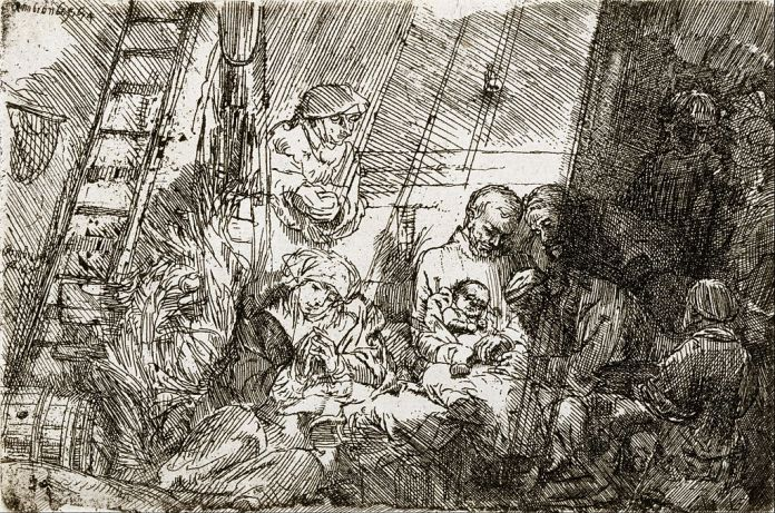 a Rembrandt drawing of a ritual circumcision