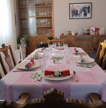 Photograph of a table set for six people