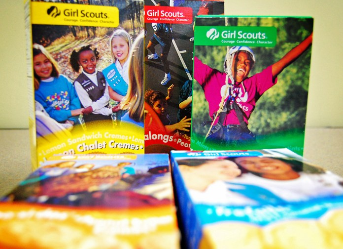 Photo of five boxes of girl scout cookies