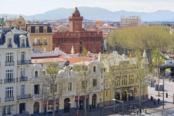 Photograph of the historic city center of Perpignan, France
