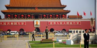 """Tiananmen Square & Forbidden city entrance, Beijing, China"" by Joe Hunt licensed under CC BY 2.0 (via Flickr)..jpg"
