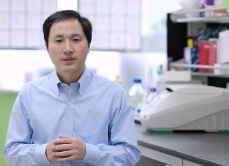 Photograph of Dr. He in a lab