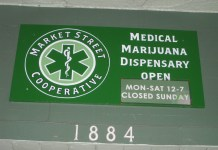 Photograph of a sign for a medical marijuana dispensary