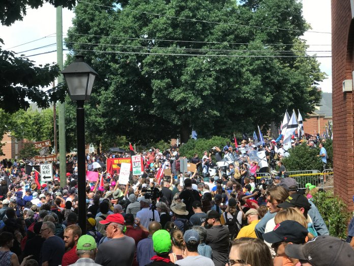Image of many protesters in Charlottesville