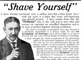 "An ad reading ""Shave Yourself!"" and a picture of a man pointing"