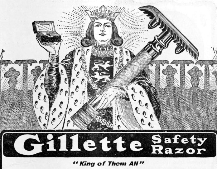 A drawing of a king holding an old-fashioned safety razor with the message