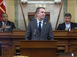 Governor Ralph Northam delivers a speech