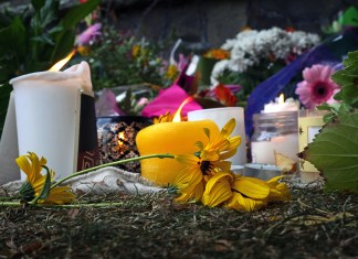 Photograph of candles and flowers arranged to mourn victims of the shootings
