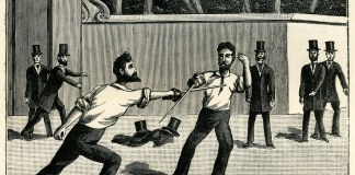drawing of sword duel with top-hatted spectators
