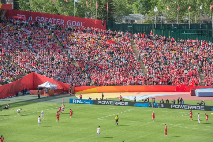 photograph of stands at women's world cup match