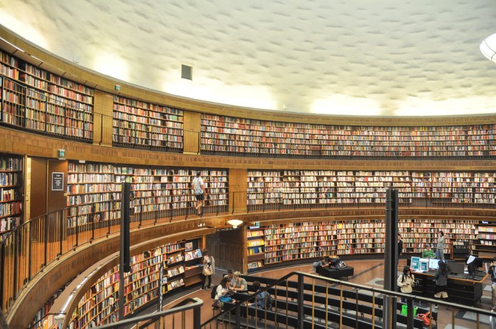 photograph of large open library with open ceiling