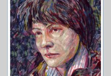gouache and ink painting of Iris Murdoch