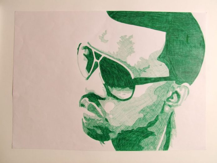 Drawing of Kanye West in profile