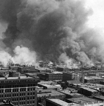 black and white aerial photograph of Tulsa Race Riot