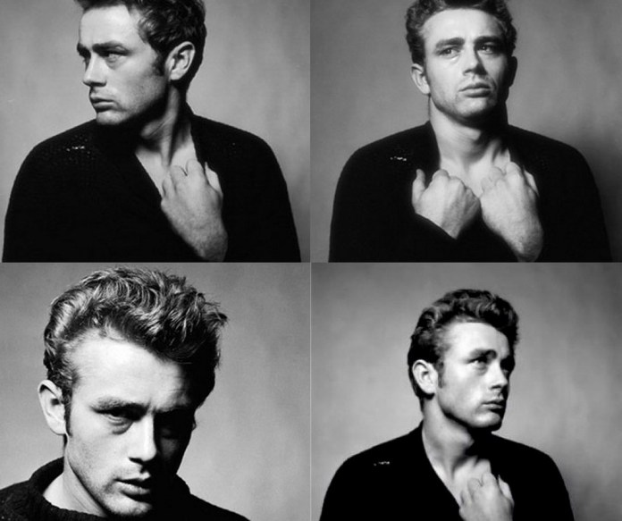 A collage of four photographs of James Dean