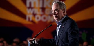 photograph of Mike Bloomberg speaking at political rally