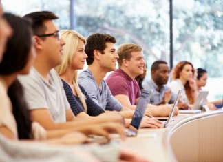 photograph of college students in class