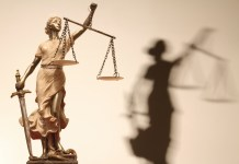 photograph of Lady Justice figurine with shadow cast on wall behind her