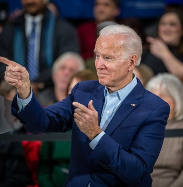 photograph of Biden at rally pointing to the crowd