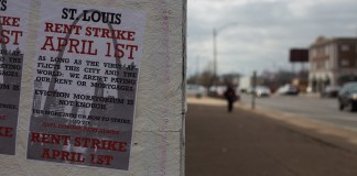 """photograph of """"Rent Strike"""" poster"""