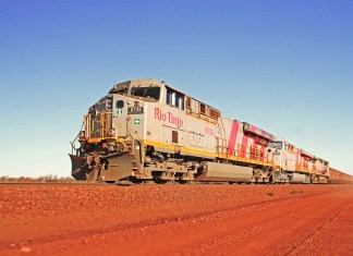 photograph of Rio Tinto train cutting through landscape