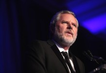 close-up photograph of Jerry Falwell Jr. at speaking engagement