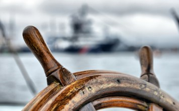 photograph of empty ship helm