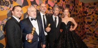 photograph of cast of Succession after Golden Globes