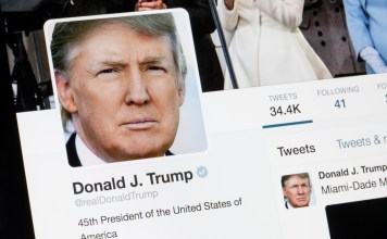 photograph of screen displaying Trump's Twitter profile
